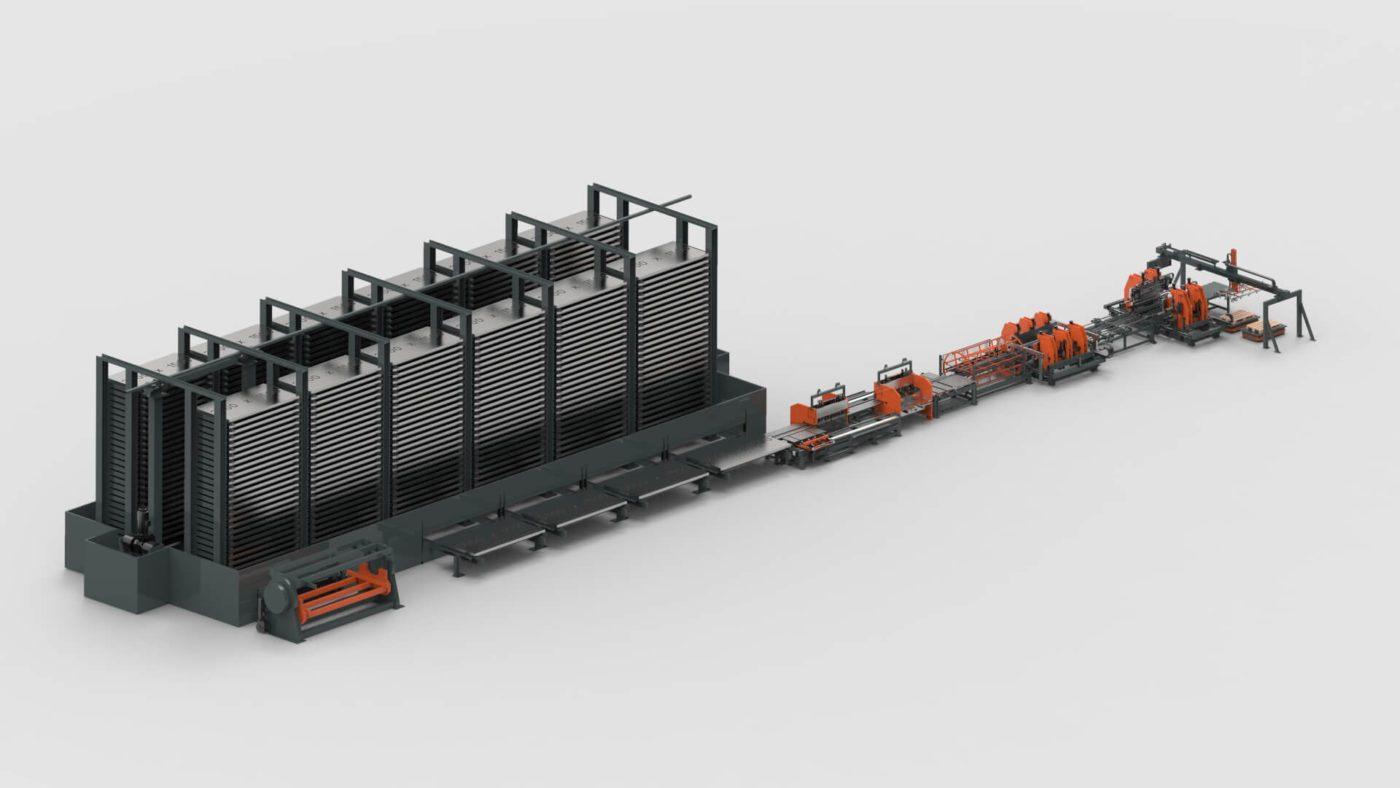WEMO Aufzugs Paneele Blechbearbeitung Blechlagersystem Stanzen Biegen Produktionslinie