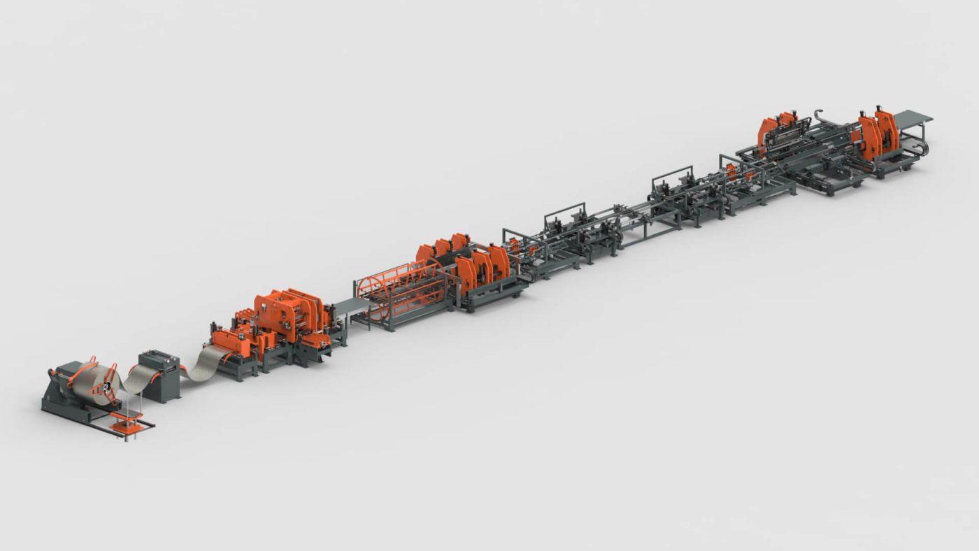 WEMO Fachbodenregale Blechbearbeitung Coil Stanzen Biegen Clinchen Produktionslinie