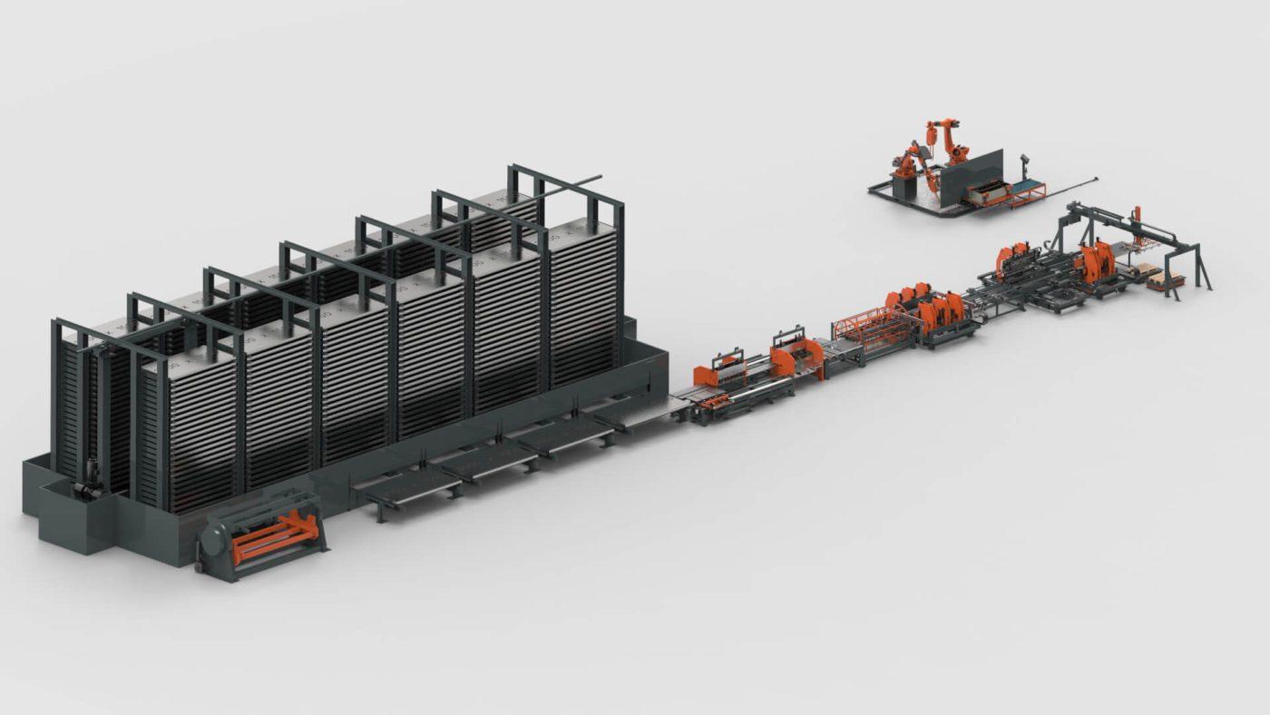 WEMO Stahlschränke Blechbearbeitung Blechlagersystem Stanzen Biegen Produktionslinie PBL-2550