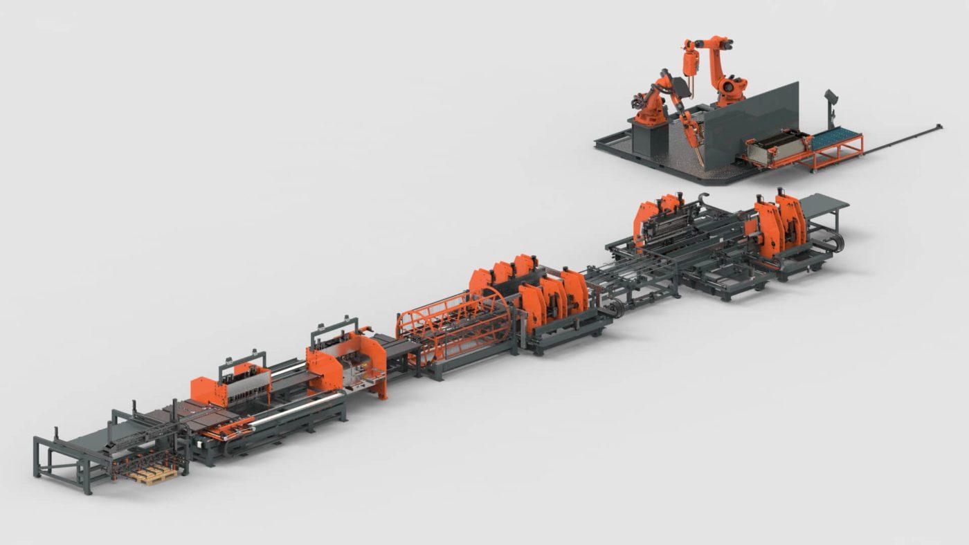 WEMO Stahlschränke Blechbearbeitung Blechlagersystem Platine Stanzen Biegen Roboter Schweissen Produktionslinie PBL-2550